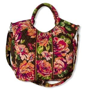 Vera Bradley English Rose Quilted Satchel Tote